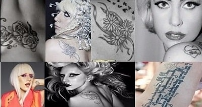 A picture of Lady Gaga's six tattoos.