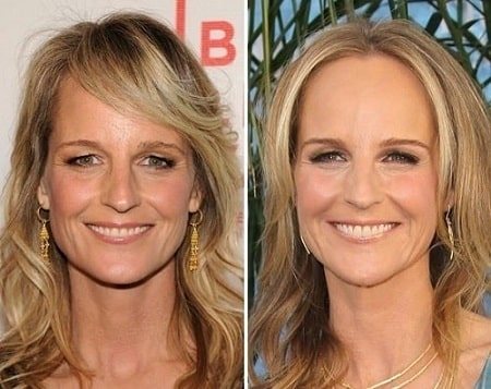 A before and after picture of Helen Hunt.
