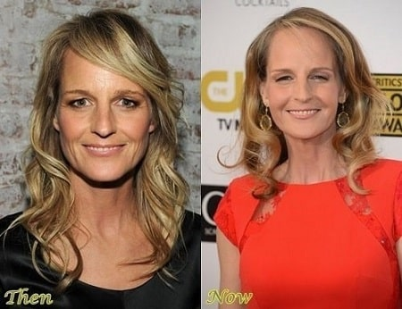 A before and after picture of Helen Hunt showing changes throughout these years.