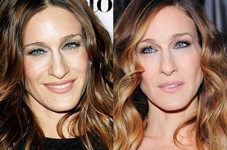 A picture of Sarah Jessica Parker before (left) and after (right).