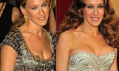 A before and after picture of Sarah Jessica Parker.