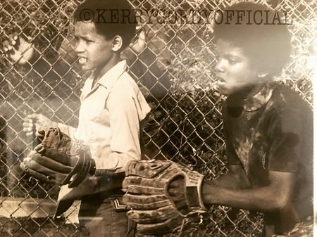 Childhood picture of Kerry Gordy and Michael Jackson.