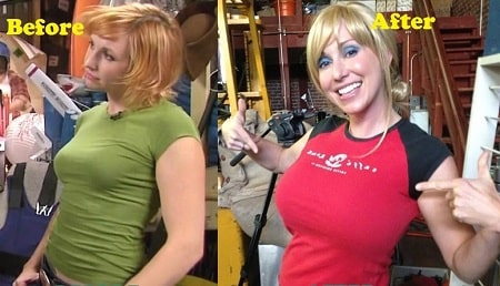 Kari Byron before (left) and after (right) picture of Kari Byron's alleged breast job.