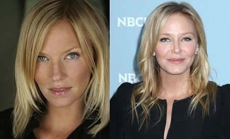 A picture of Kelli Giddish before (left) and after (right).