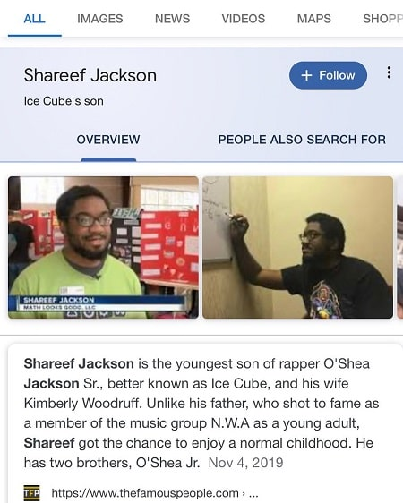 Shareef Jackson who has posted the above picture in his Instagram claiming he is not real Ice Cube's son.