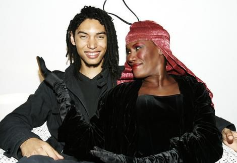 A picture of Grace Jones and her son.