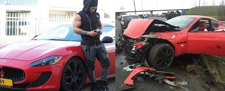 In picture, Tavi Castro along his red Maserati Gran Turismo (left) which got devastated by the car accident (right).