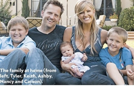 Keith Zubchevich and Nancy O'Dell with their children Ashby Grace Zubulevich, Tyler Zubulevich, and Carson Zubulevich.