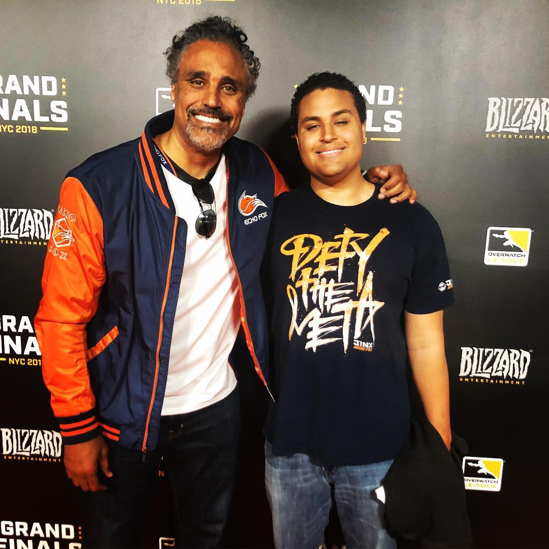 Picture of Kari Hillsman's ex-husband Rick Fox and son Kyle Fox.