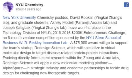 NYU's Official Post Announcing The $75000 Award For David Rooklin