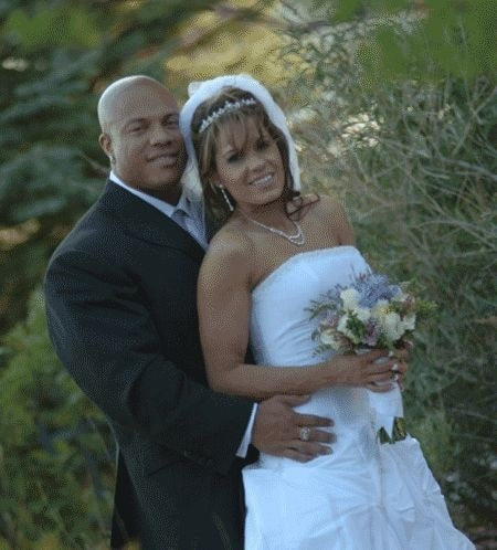 Jennie Laxson with her supportive ex-husband Phil Heath in her marriage day..
